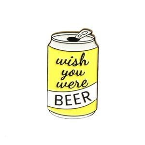 WISH YOU WERE BEER FUNNY KITSCH LAPEL JACKET PIN